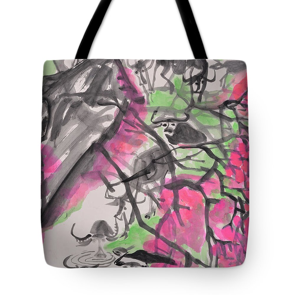 Peach Blossom Tote Bag featuring the drawing Peach Blossom And Water Buffalo by Chinaart Find