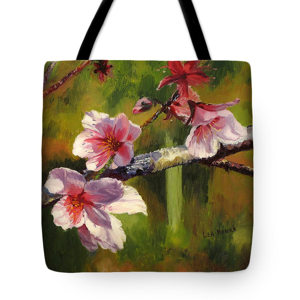 Flower Tote Bag featuring the painting Peach Blossom Time by Lea Novak
