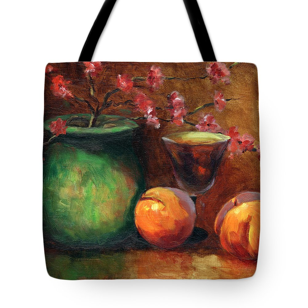 Peaches Tote Bag featuring the painting Peach Blossoms by Linda Hiller