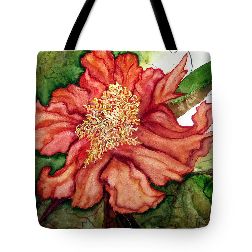 Lil Taylor Tote Bag featuring the painting Peach Drama by Lil Taylor