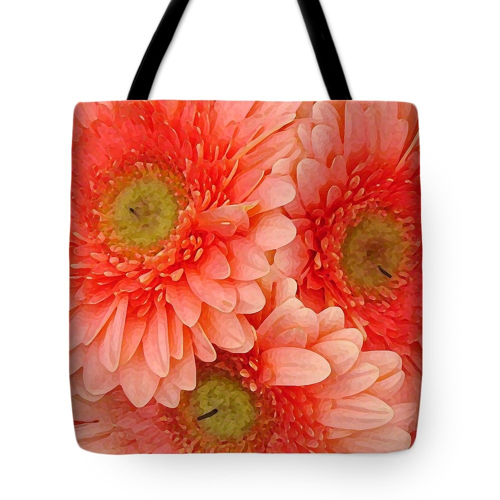 Floral Tote Bag featuring the painting Peach Gerbers by Amy Vangsgard