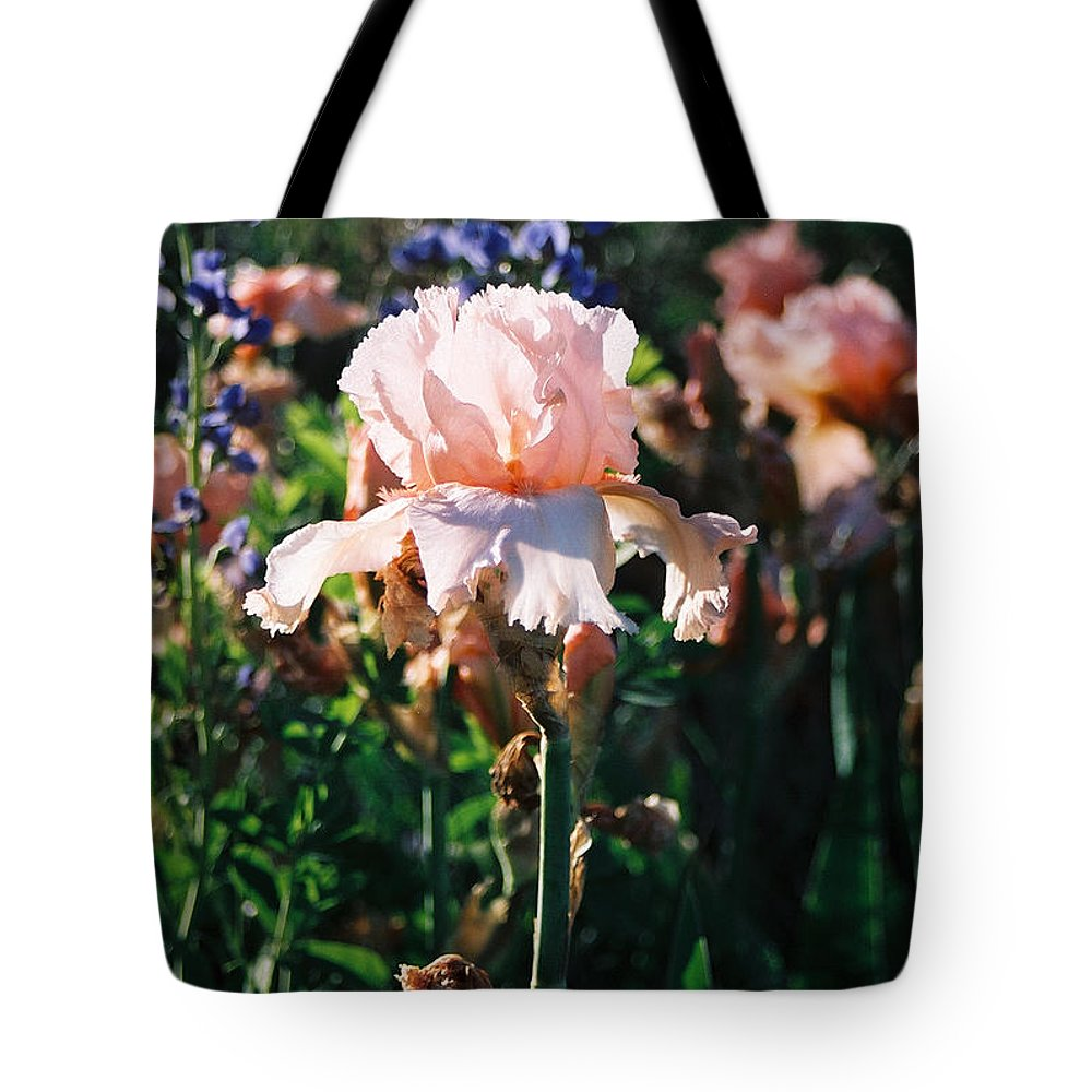 Flower Tote Bag featuring the photograph Peach iris by Steve Karol