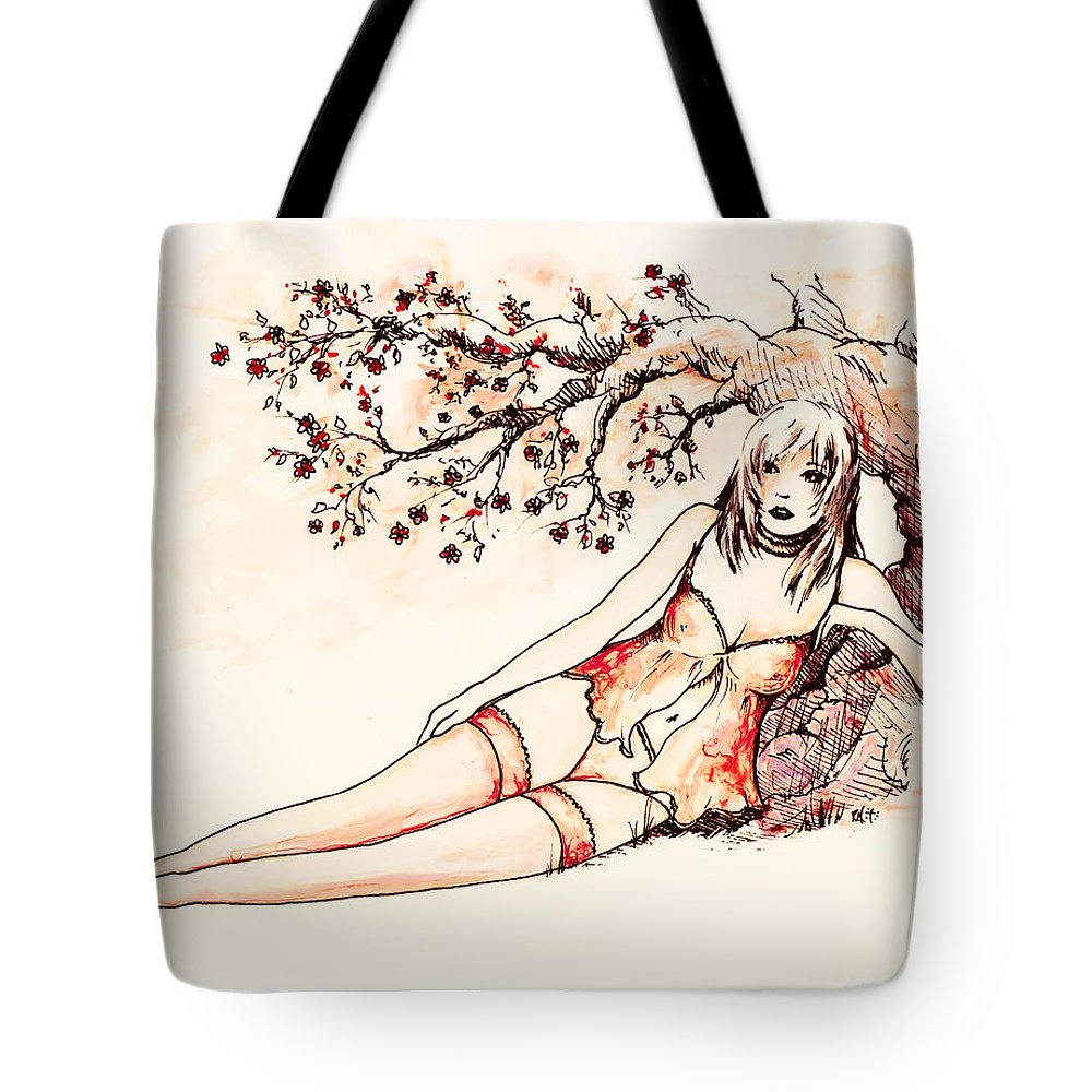 Figure Tote Bag featuring the drawing Peach by William Russell Nowicki