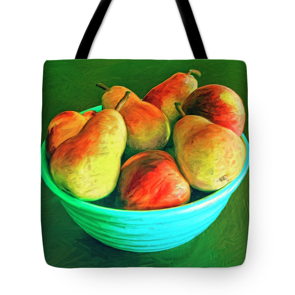 Peaches And Pears Tote Bag featuring the painting Peaches And Pears by Dominic Piperata
