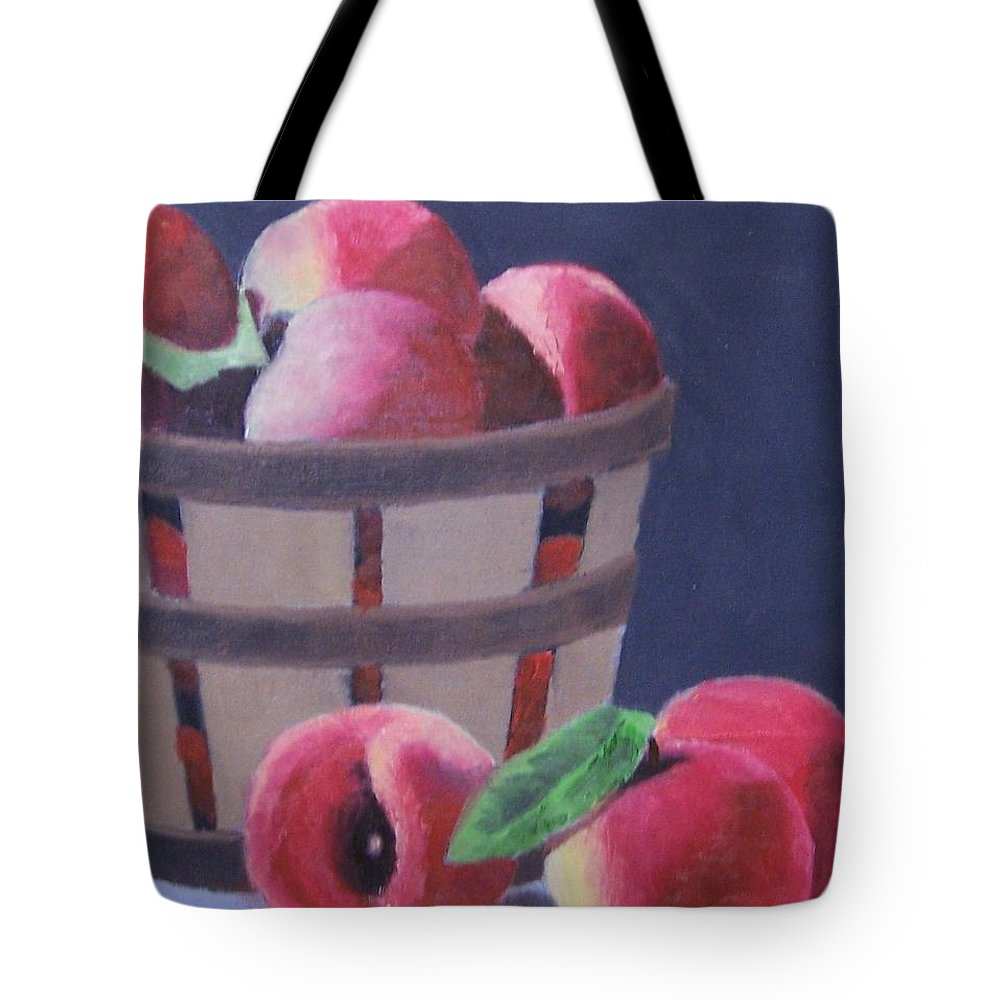 Peaches Tote Bag featuring the painting Peaches In A Basket by John Marcum