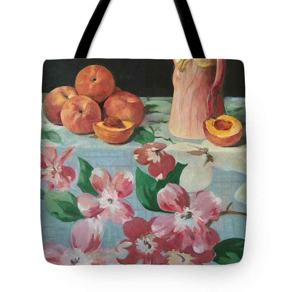 Peaches Tote Bag featuring the painting Peaches On Floral Tablecloth by Robert Holden