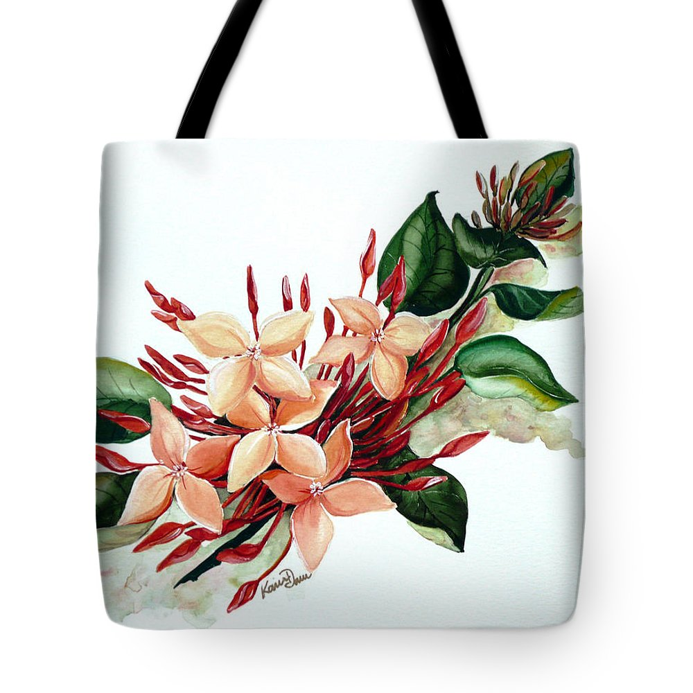 Floral Peach Flower Watercolor Ixora Botanical Bloom Tote Bag featuring the painting Peachy Ixora by Karin Dawn Kelshall- Best