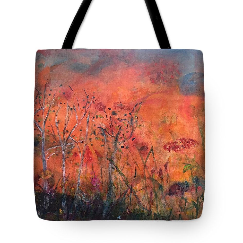 Sunset Tote Bag featuring the painting Peachy Keen by Holly Sedgwick
