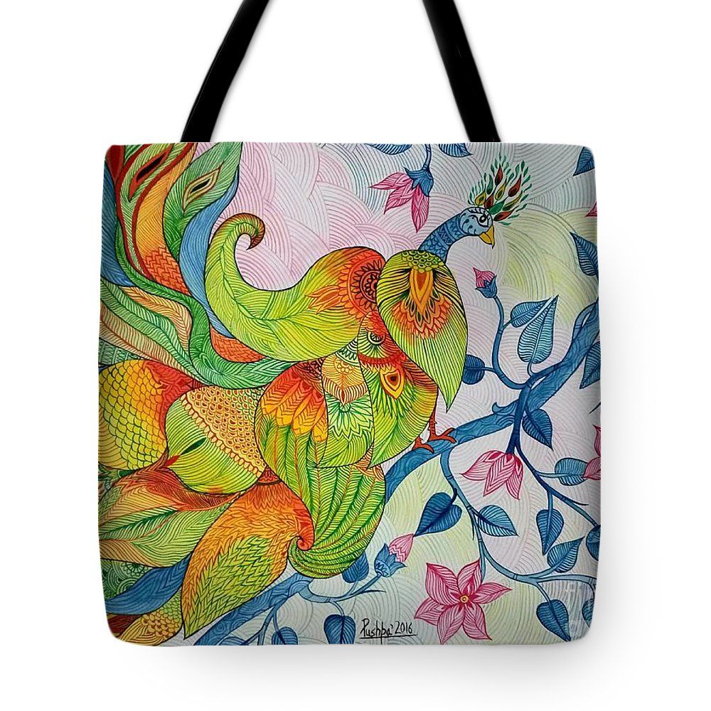 Abstract Painting Tote Bag featuring the painting Peacock- Abstract by Pushpa Sharma