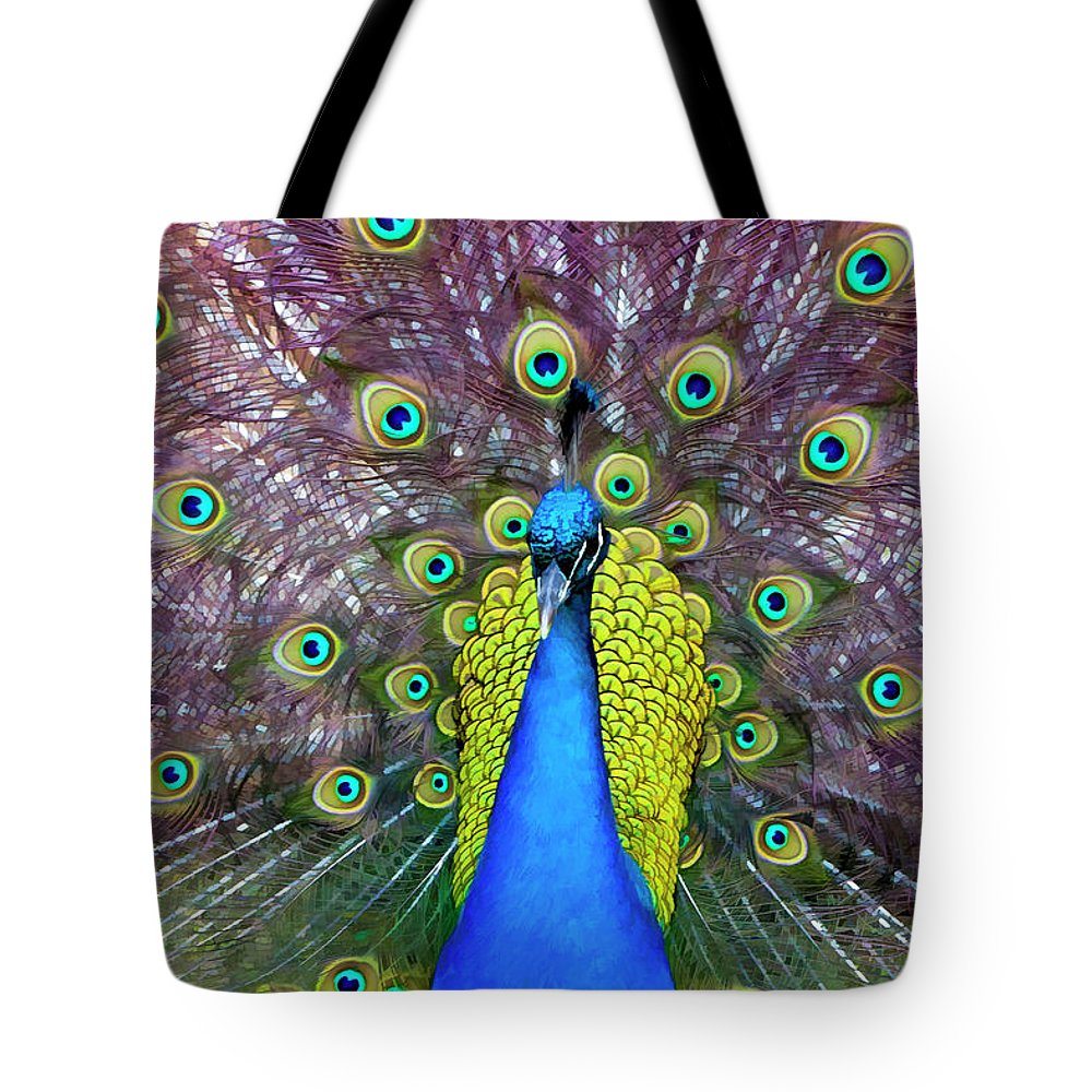 Peacock Tote Bag featuring the digital art Peacock Art by Janet Fikar