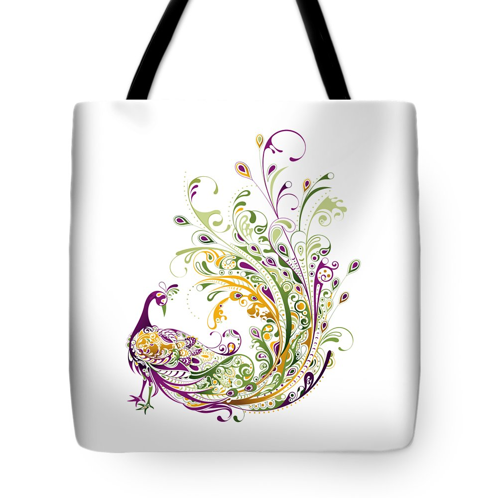 Peacock Tote Bag featuring the digital art Peacock by BONB Creative