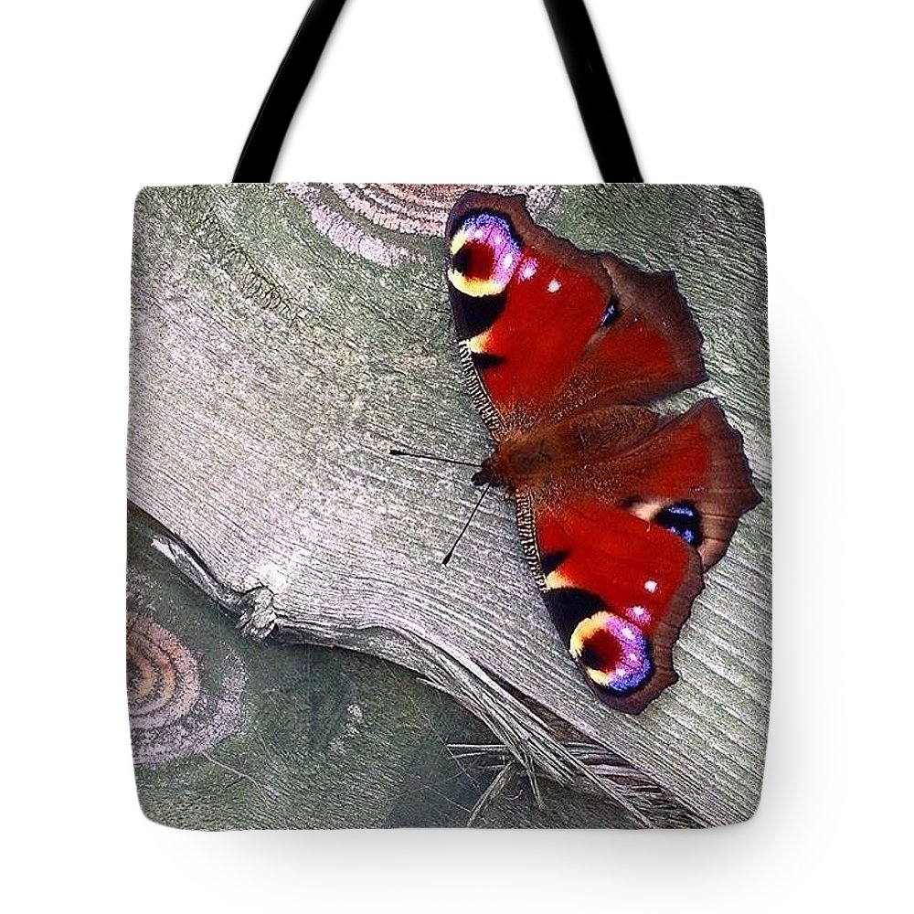 Butterfly Tote Bag featuring the photograph Peacock Butterfly by Emily Gibbons