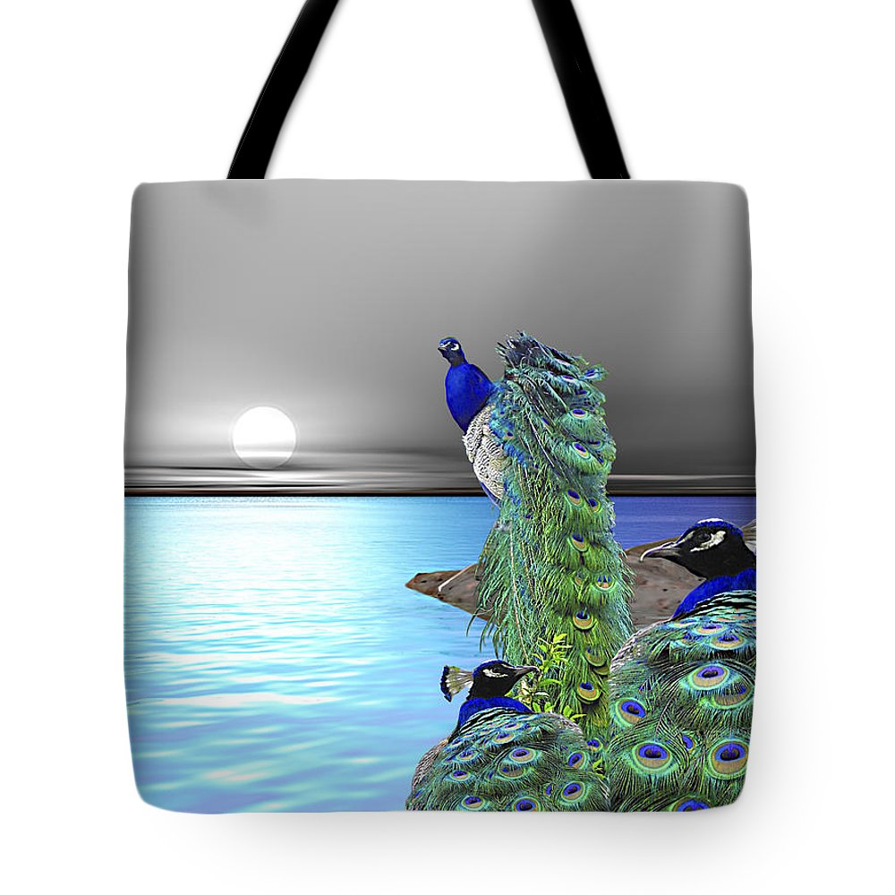 Peacocks Tote Bag featuring the painting Peacock Fantasy by Susanna Katherine