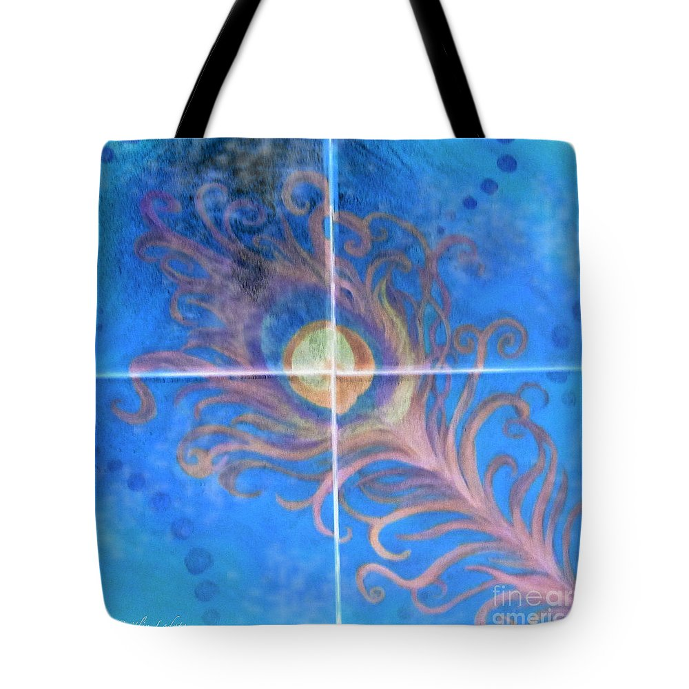 Peacock Feather Tote Bag featuring the painting Peacock Feather Abstract by Caitlin Lodato