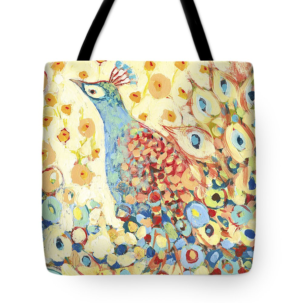 Peacock Tote Bag featuring the painting Peacock Hiding in My Poppy Garden by Jennifer Lommers