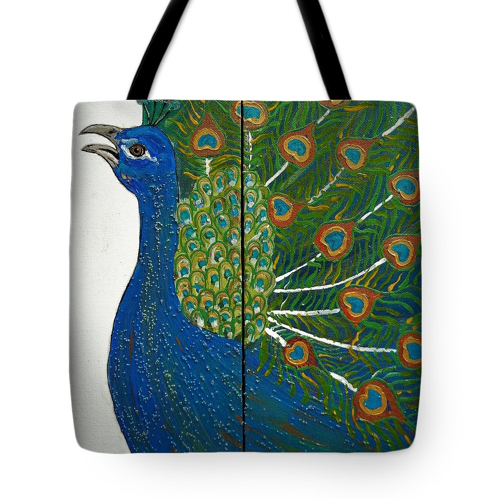 Peacock Tote Bag featuring the painting Peacock Iv by Kruti Shah