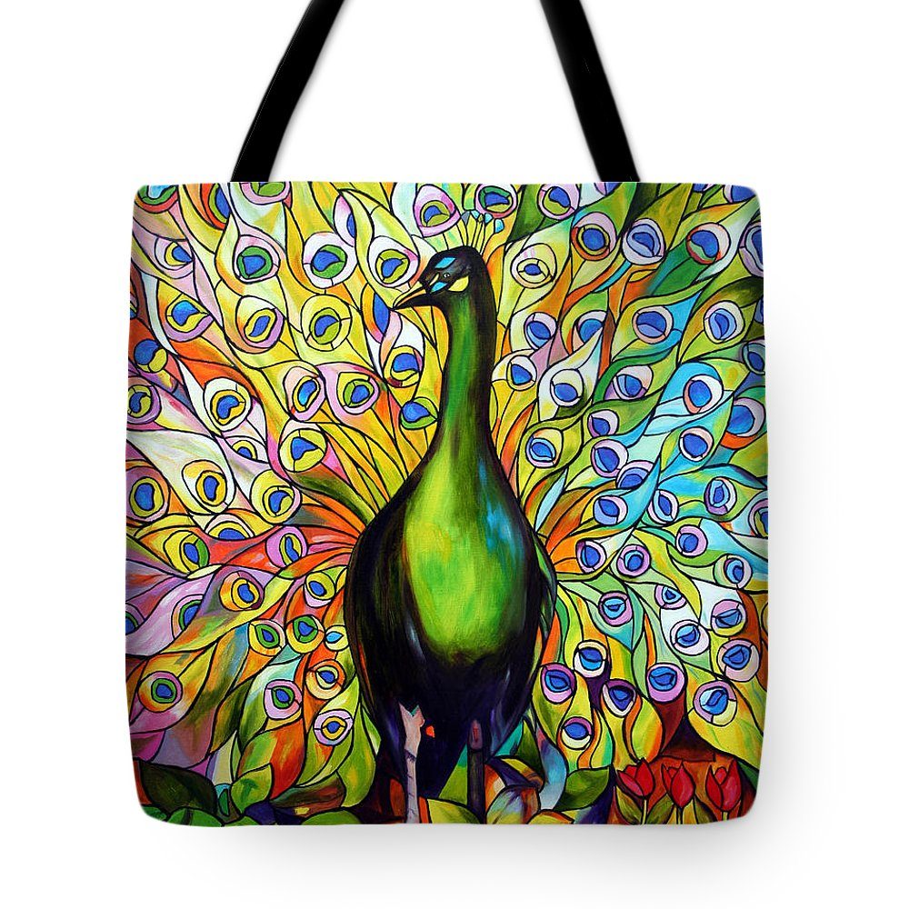 Bird Tote Bag featuring the painting Peacock by Jose Manuel Abraham
