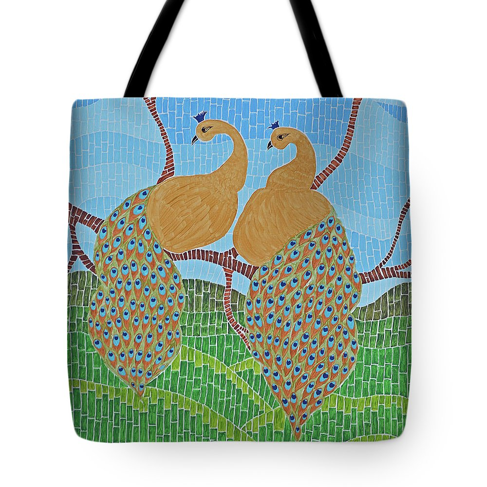 Art Tote Bag featuring the painting Peacock Love by Laxmi Khire