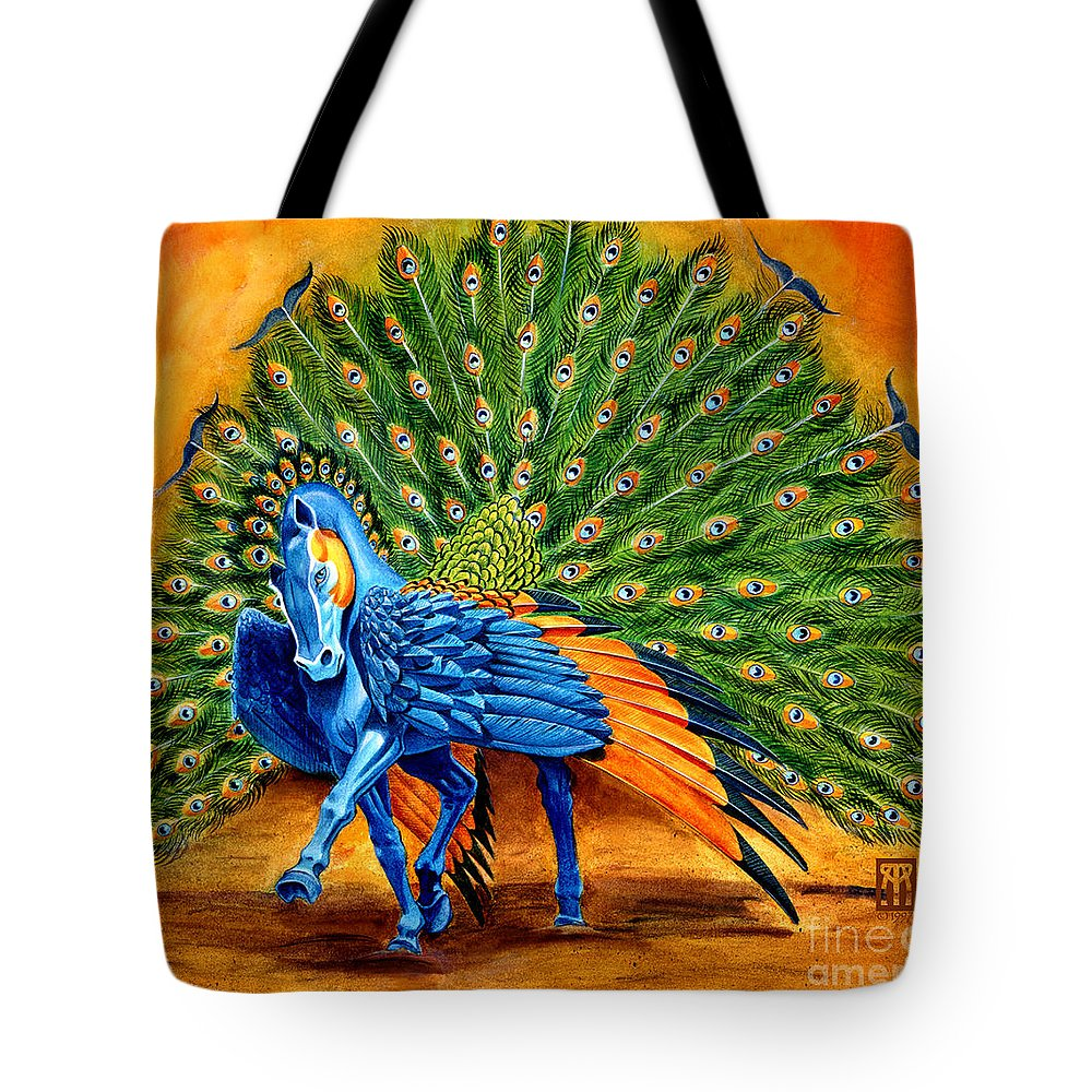 Horse Tote Bag featuring the painting Peacock Pegasus by Melissa A Benson
