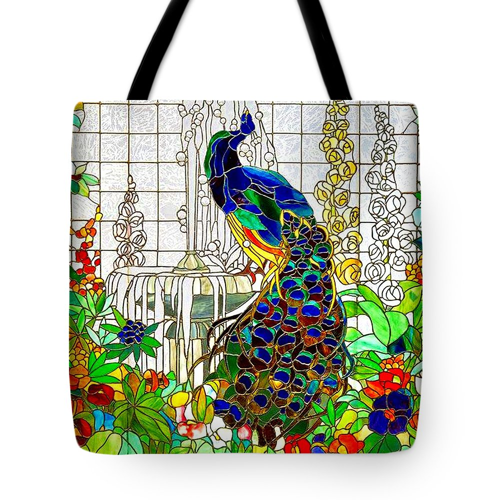 Peacock Tote Bag featuring the digital art Peacock Stained Glass by Marianne Dow