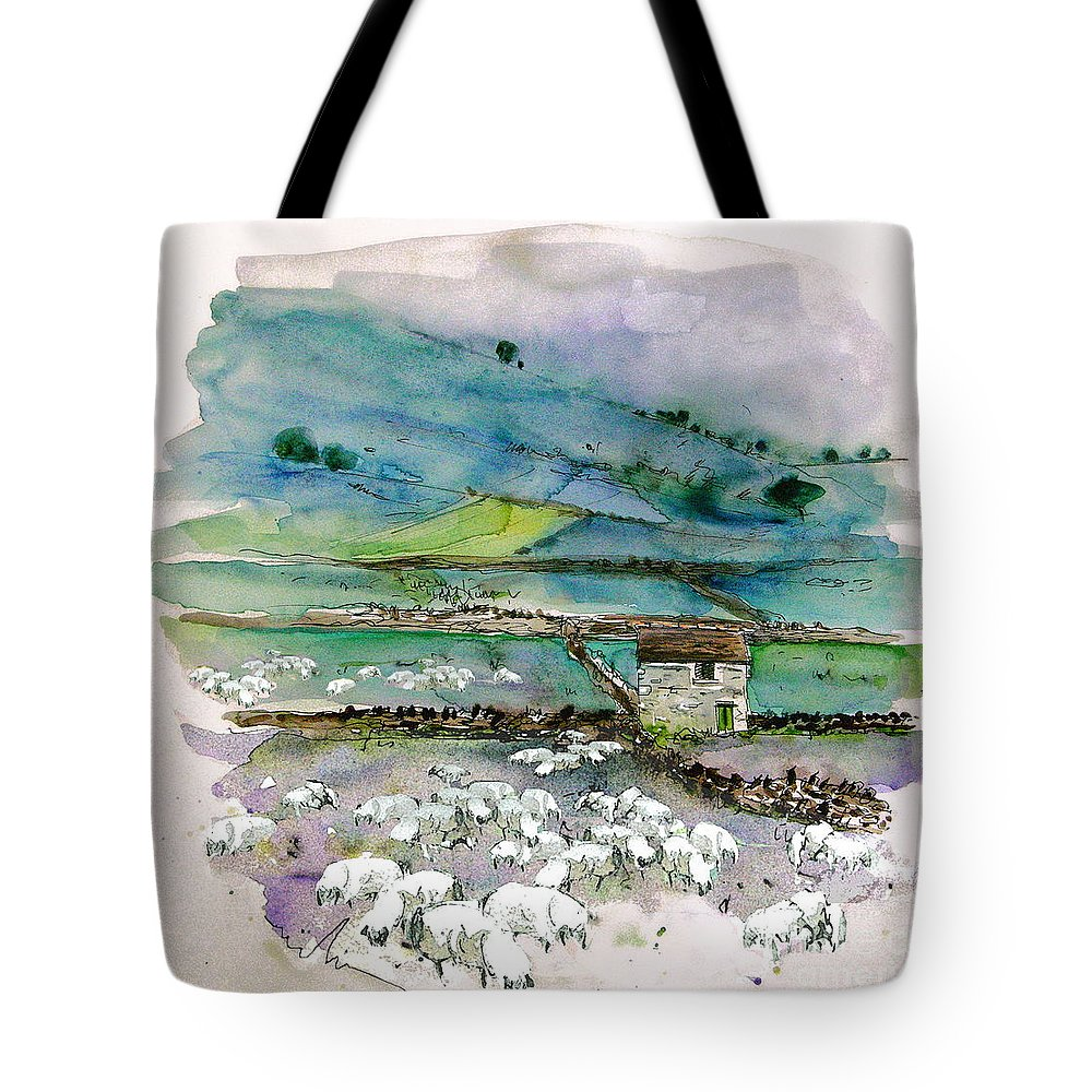 Paintings England Watercolour Travel Sketches Ink Drawings Art Landscape Paintings Town Tote Bag featuring the painting Peak District Uk Travel Sketch by Miki De Goodaboom