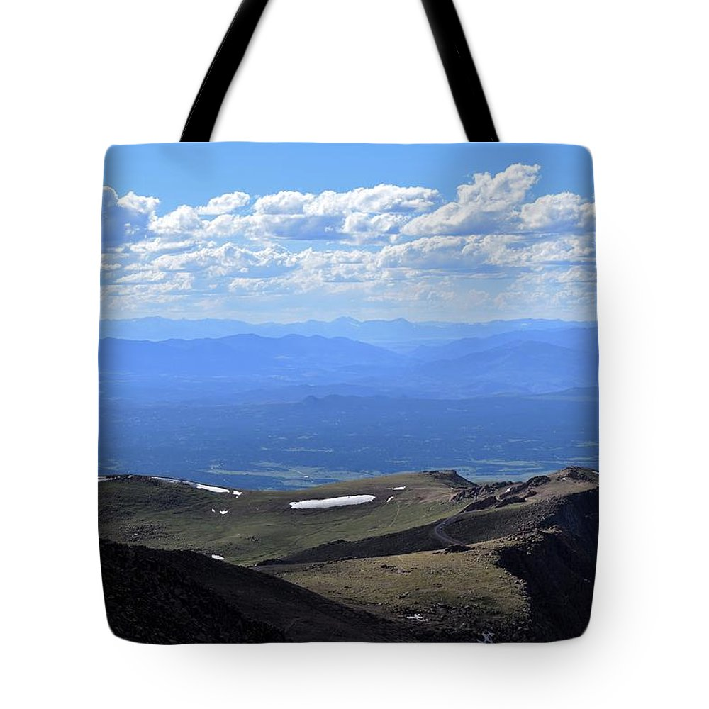 Pikes Peak Tote Bag featuring the photograph Peak by Heather Fallot