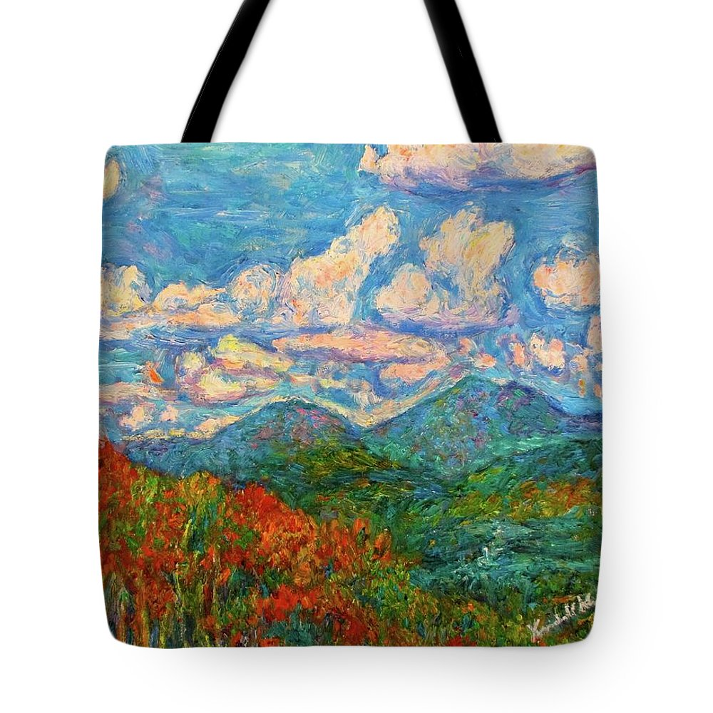 Peaks Of Otter Mountain Tote Bag featuring the painting Peaks of Otter in Fall by Kendall Kessler