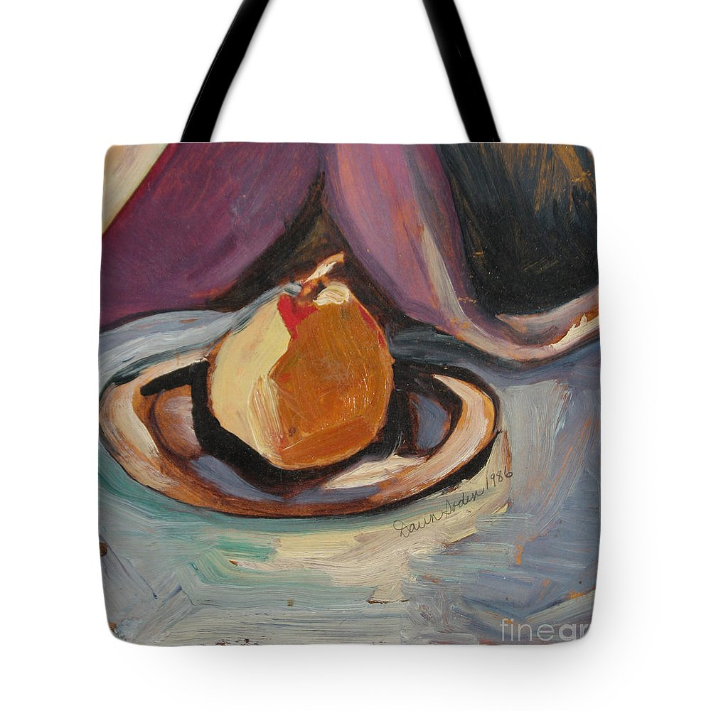 Oil Painting Tote Bag featuring the painting Pear by Daun Soden-Greene