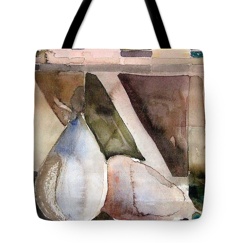 Pear Tote Bag featuring the painting Pear Study In Watercolor by Mindy Newman