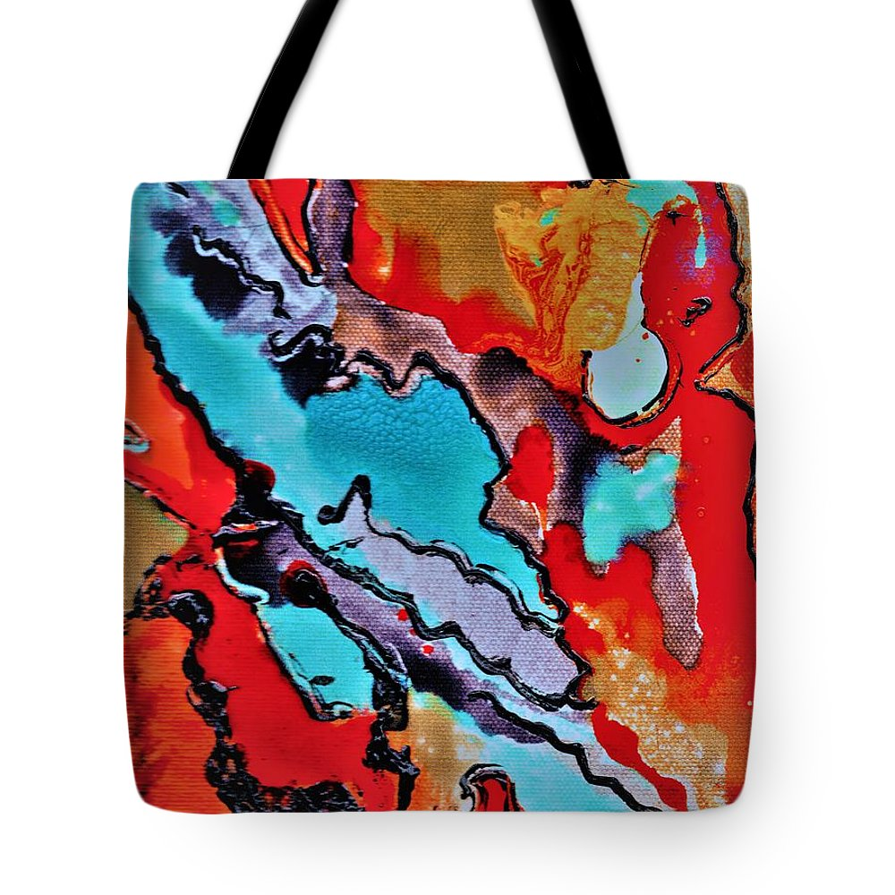 Abstract Tote Bag featuring the mixed media Pearl Of A Great Price by Carliss Prosser