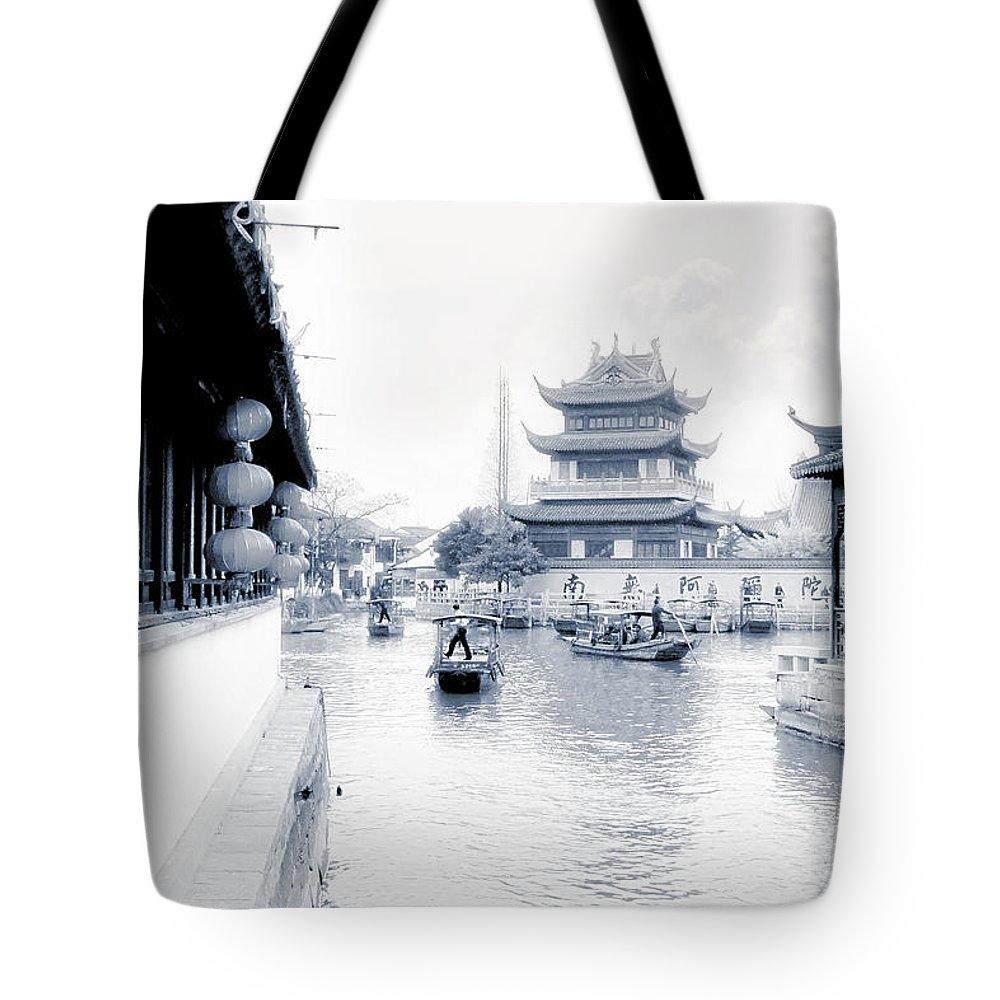 Zhu Jia Jiao Tote Bag featuring the photograph Pearl Stream River Blues - Zhujiajiao Near Shanghai by Christine Till