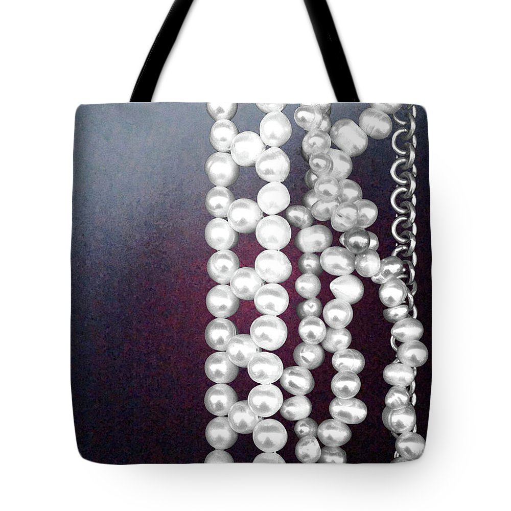 Pearls Tote Bag featuring the photograph Pearls by Ceil Diskin