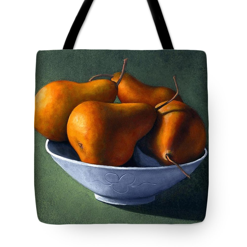 Still Life Tote Bag featuring the painting Pears In Blue Bowl by Frank Wilson