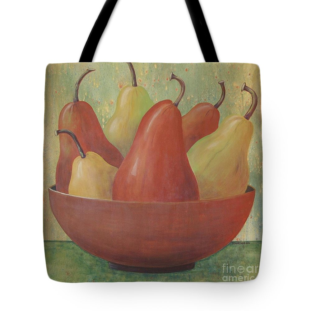 Pears Tote Bag featuring the painting Pears In Copper Bowl by Jeanie Watson