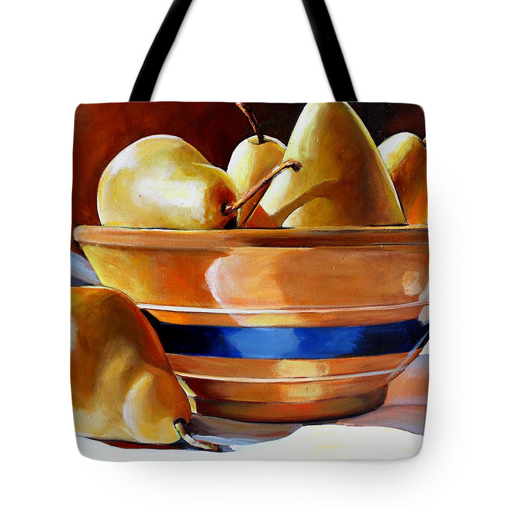 Yelloware Tote Bag featuring the painting Pears In Yelloware by Toni Grote
