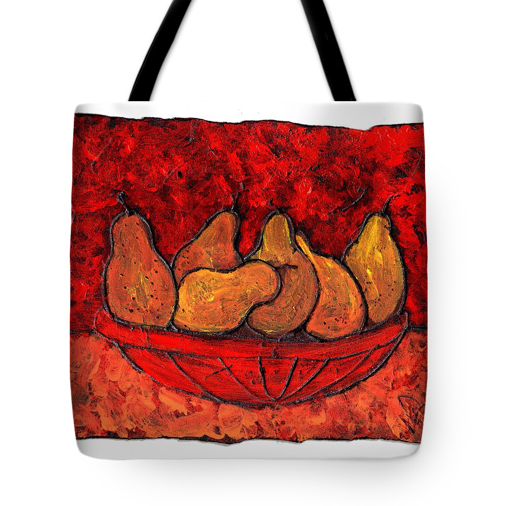 Food And Drink Tote Bag featuring the painting Pears On Fire by Wayne Potrafka