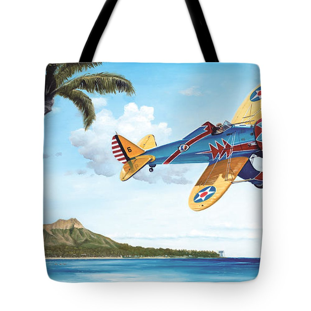 Aviation Tote Bag featuring the painting Peashooter In Paradise by Marc Stewart