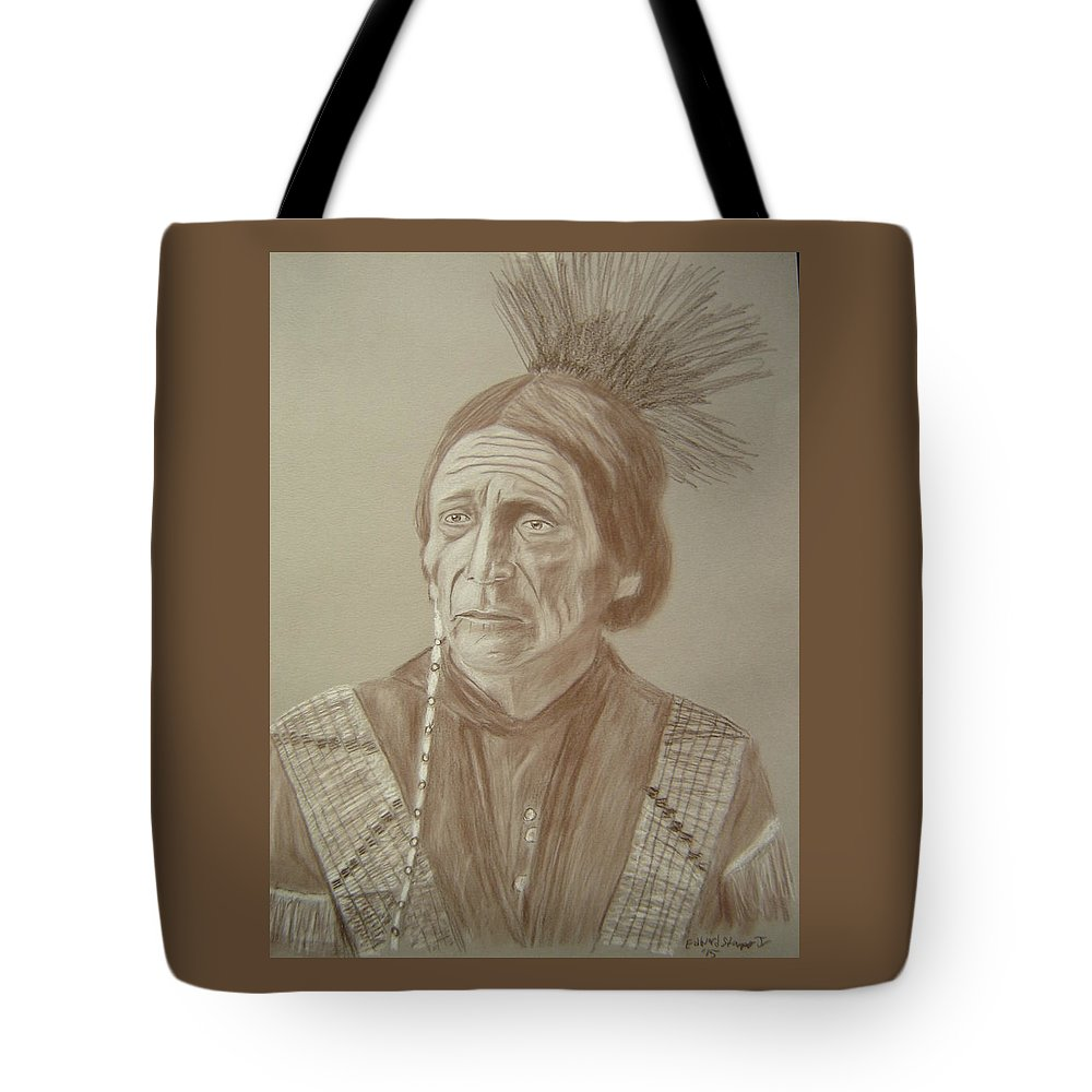 Peatwy Tuck Tote Bag featuring the drawing Peatwy Tuck-sac And Fox by Edward Stamper