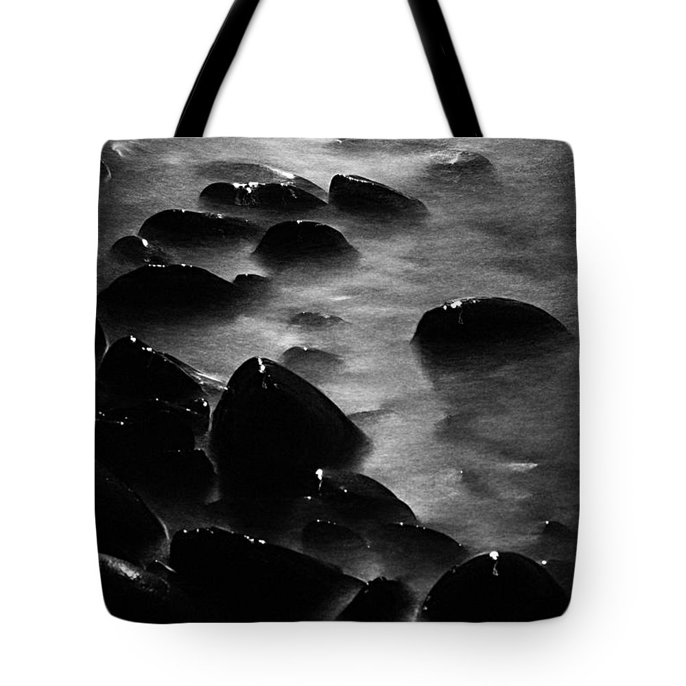 Split Rock Lighthouse State Park Tote Bag featuring the photograph Pebble Beach By Moonlight by Larry Ricker