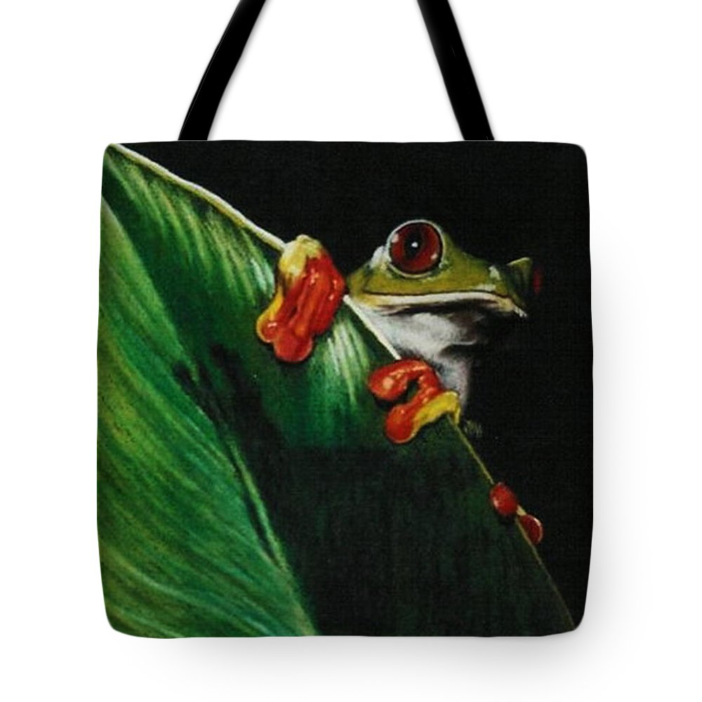 Frog Tote Bag featuring the drawing Peek-a-boo by Barbara Keith