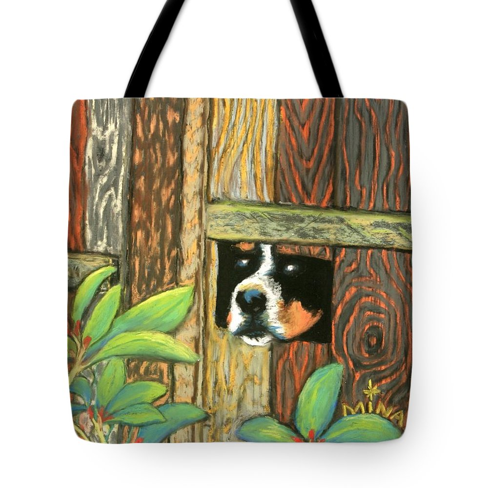 Dog Tote Bag featuring the painting Peek-a-boo Fence by Minaz Jantz