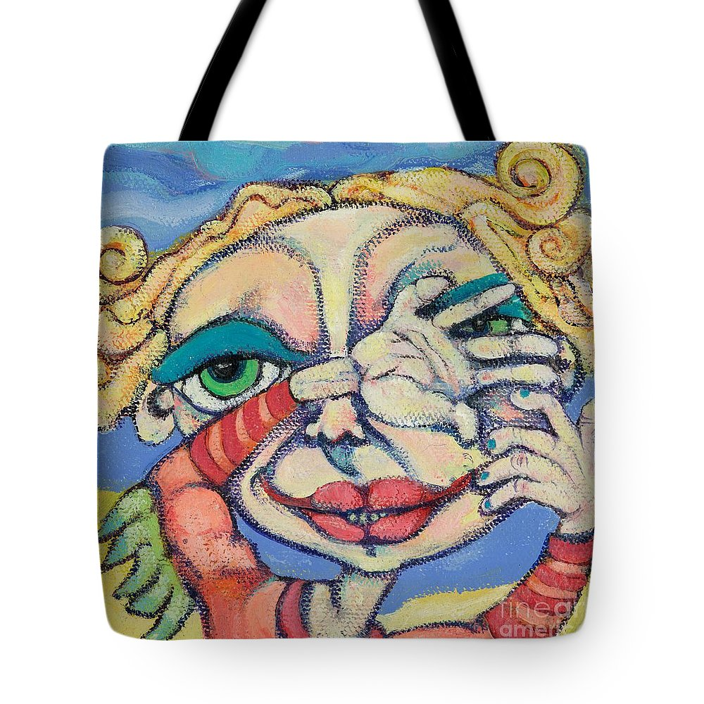 Circle Heads Art Tote Bag featuring the painting Peek-a-boo by Michelle Spiziri