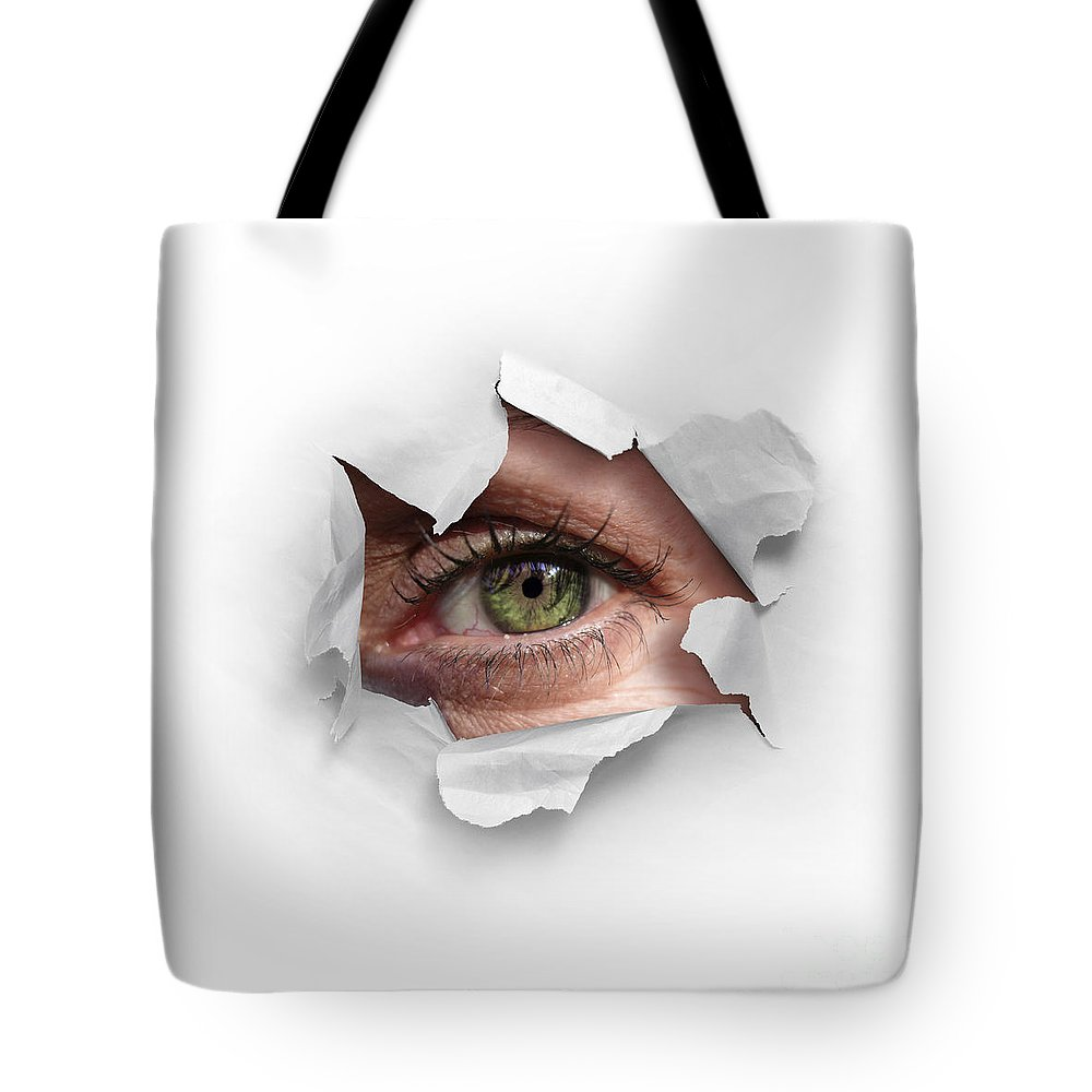 Abstract Tote Bag featuring the photograph Peek Through A Hole by Carlos Caetano