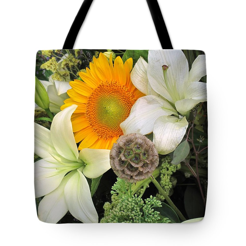 Lillies Tote Bag featuring the photograph Peeking Out by Ian MacDonald