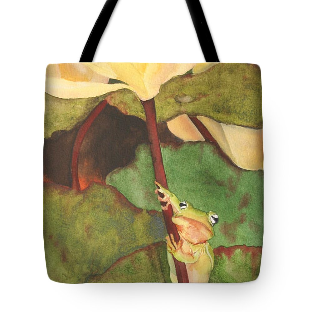 Frog Tote Bag featuring the painting Peeping Tom by Jean Blackmer