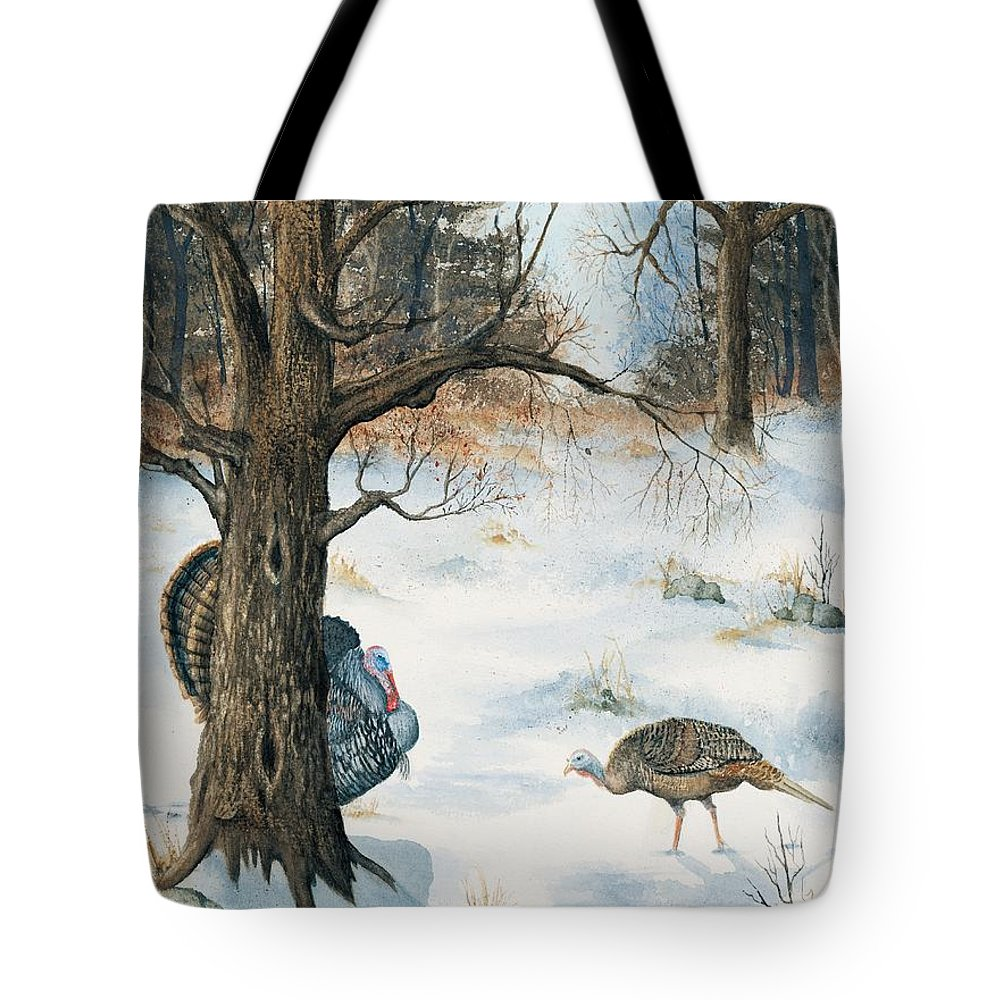 Turkey Tote Bag featuring the painting Peeping Tom by Mary Tuomi
