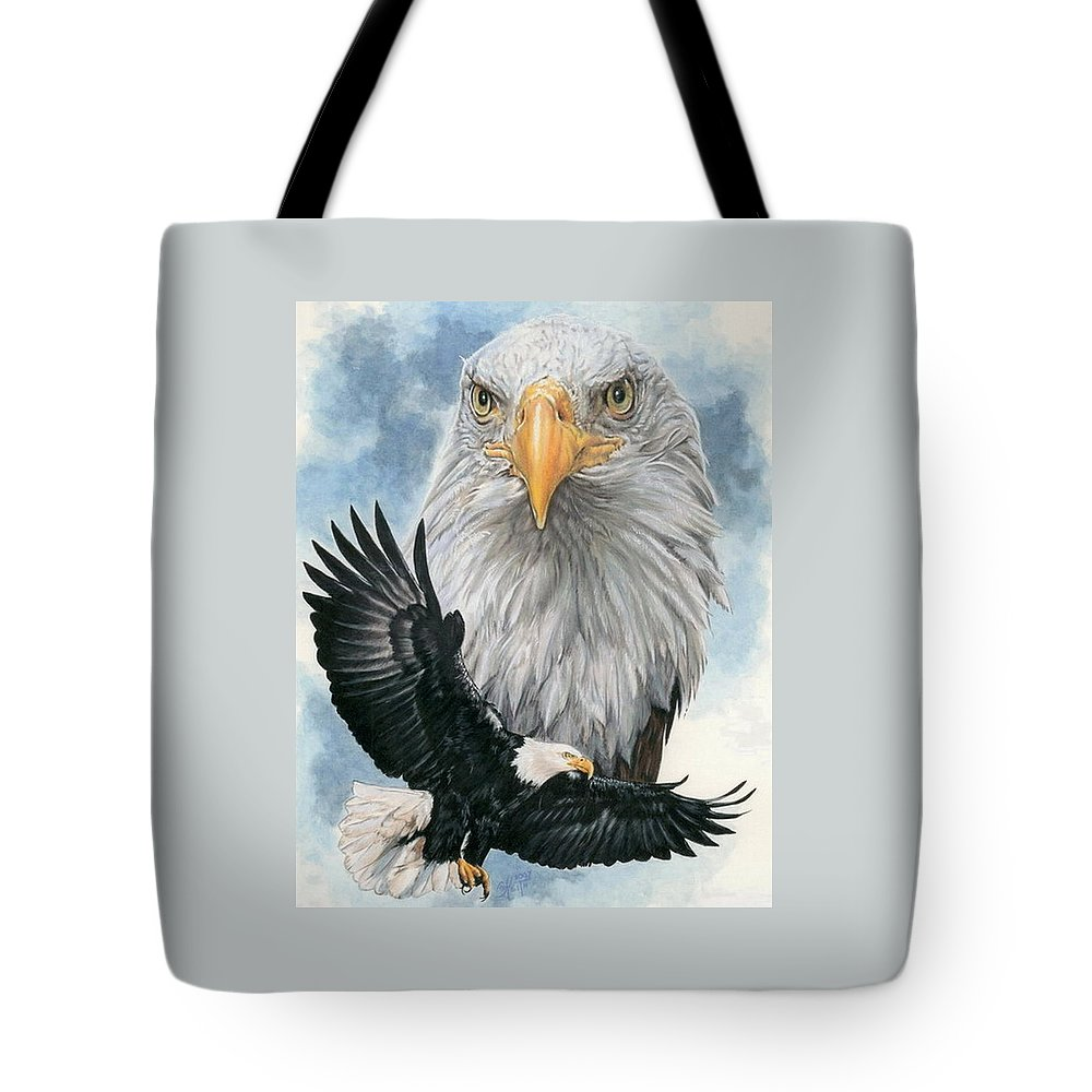 Bald Eagle Tote Bag featuring the mixed media Peerless by Barbara Keith