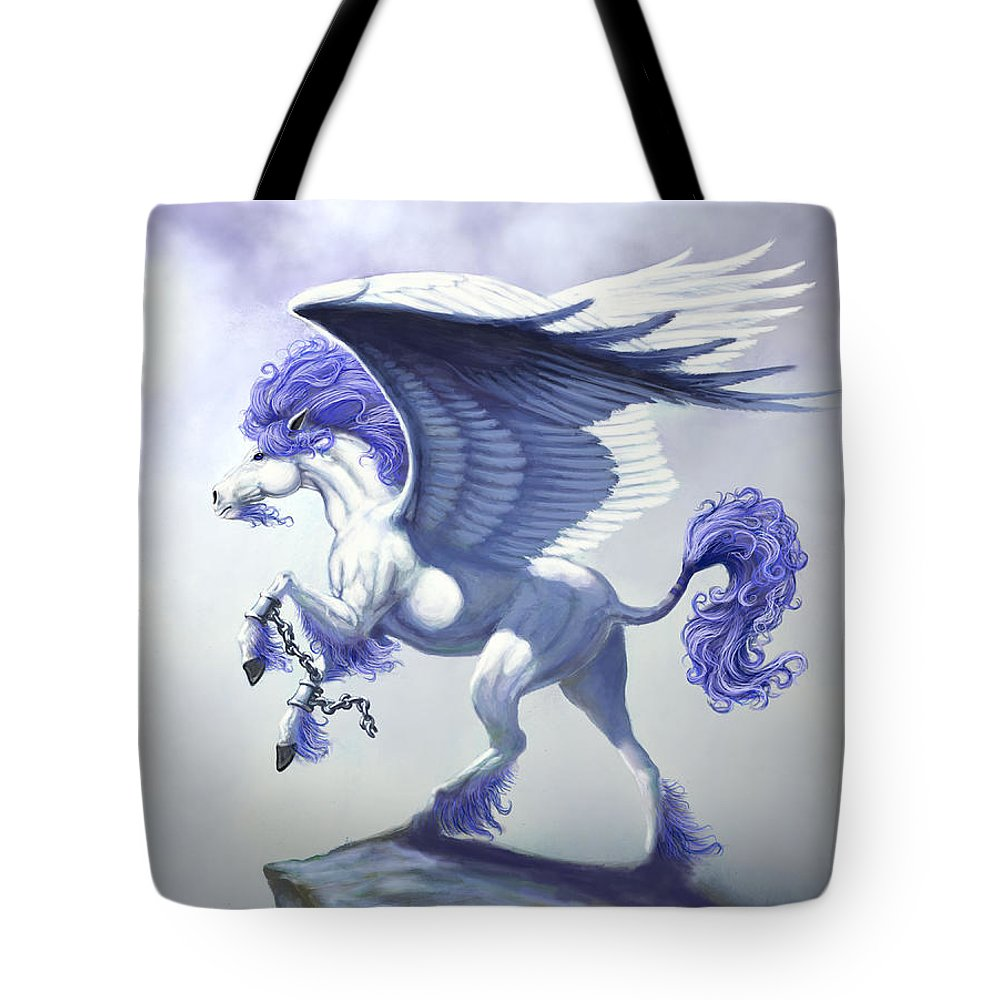 Pegasus.fantasy Tote Bag featuring the digital art Pegasus Unchained by Stanley Morrison