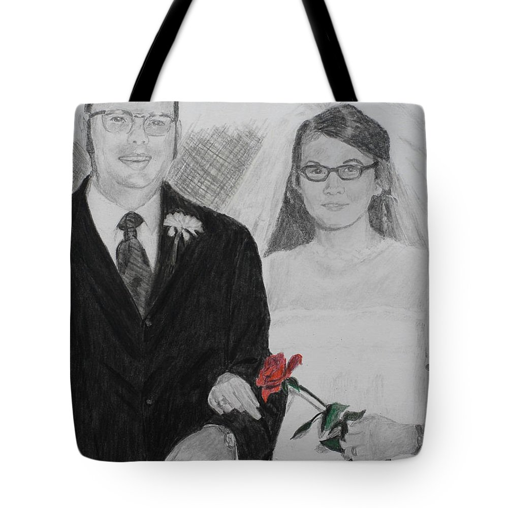 Wedding Tote Bag featuring the painting Peggy And John Taylor Wedding Portrait by Quwatha Valentine