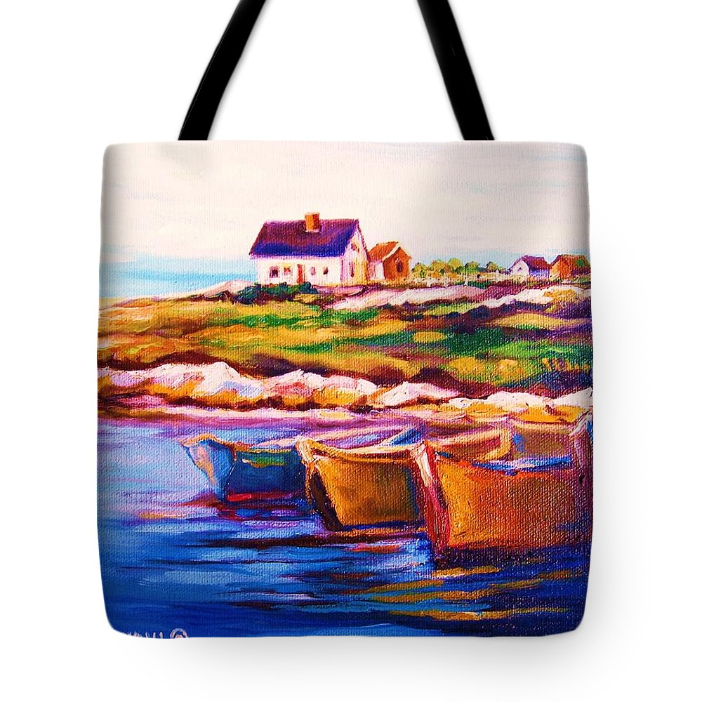 Row Boats Tote Bag featuring the painting Peggys Cove Four Row Boats by Carole Spandau